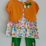 Gymboree ชุดเซ็ท 3 ชิ้น เสื้อแขนกุดลายผีเสื้อมาพร้อมเสื้อคลุมสีส้ม Size : 2T / 3T / 4T