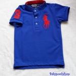 Polo : เสื้อยืด คอติดกระดุม ปักม้าโปโล สีน้ำเงิน size : 1-2y