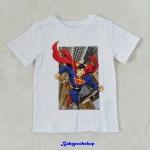 H&M : เสื้อยืด ลาย superman สีขาว size : 1.5-2y /6-8y / 8-10y /10-12y
