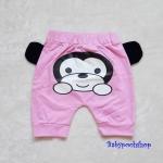 Aime'e : กางเกงทรง 3 ส่วน สกรีนลาย น้องลิง สีชมพู ด้านหลัง เนื้อผ้า cotton นิ่ม งานไทยสไตล์เกาหลี