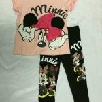 Set H&M minnie สีชมพู เลคกิ้งสีดำ
