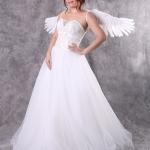 เช่าชุดแต่งงาน &#x2665 ชุดแต่งงาน ชุดชุดเจ้าสาว เกาะอก แต่งโบว์ใต้อกปักเพชร