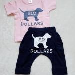 Aime'e : set เสื้อ+กางเกง ลาย Dollars สีชมพู+กรม