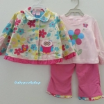 Baby Q : ชุดเซ็ท 3 ชิ้น เสื้อกันหนาวผ้าสำลีสีครีมลายดอกไม้ปักนกฮูก
