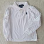 เสื้อคอปกแขนยาว ปักม้าโปโล สีขาว size : 2-4y / 6-8y