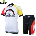 ชุดจักรยานเด็กแขนสั้นขาสั้น CheJi สีขาวแดงเหลือง
