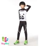 ชุดจักรยานเด็กแขนยาวขายาว Power (03) สีขาวดำลายแพนด้า