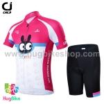 ชุดจักรยานเด็กแขนสั้นขาสั้น CheJi สีชมพูขาวลายกระต่าย