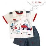 MonOURS : Set 3 ชิ้น เสื้อเชิ๊ตลายไดโน มาพร้อมเสื้อยืดแขนสั้นด้านใน และ กางเกงผ้า ค๊อตต้อน ค่ะ สุดคุ้ม