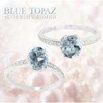 แหวนพลอยประจำวันเกิดวันศุกร์ ตัวเรือนเงินแท้ ประดับพลอยBlue topaz (บลู โทพาซ)