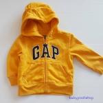Gap : แจ็คเก็ท กันหนาวมีฮูด ซิปหน้า สีเหลือง