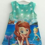 Zara Kids : เดรสพิมพ์ลายเจ้าหญิงโซเฟีย สีเขียวมินท์ Size : 1y / 8y