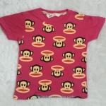H&M : เสื้้อยืดสกรีนลายพอลแฟรงค์ สีชมพูเข้ม size 6-8y / 8-10y