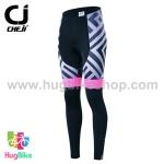 กางเกงจักรยานผู้หญิงขายาว CheJi 16 (10) สีดำลายเทาชมพู