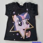H&M : เสื้อยืดแขนสั้น ลายม้าโพนี่ Twilight sparkle สีดำ size : 1.5-2y