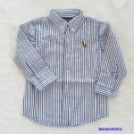 POLO : เสื้อเชิ๊ตแขนยาว ลายทางริ้วน้ำเงิน size : 1y / 2y / 3y / 4y