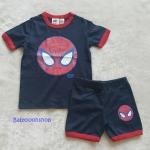 H&M : ชุดเซ็ท เสื้อแขนสั้น+กางเกงขาสั้น สกรีนลาย spiderman สีกรม size : 1-2y / 8-10y