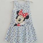 Disney : เดรสมินนี่แขนกุด สีขาว จุดน้ำเงิน เหลือง size 1-2y / 2-4y / 8-10y