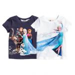 H&M : เสื้อยืด สกรีนลาย Frozen สีน้ำเงิน (งานช้อป) ตัวซ้าย size 1.5-2y / 2-4y