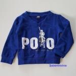 เสื้อ sweater เนื้อผ้าหนาปานกลาง สีน้ำเงิน สกรีนโลโก้ POLO size : 1y / 2y / 3y / 7y