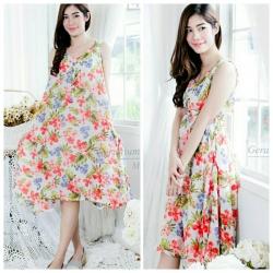 ชุดคลุมท้อง : ชุดคลุมท้องแฟชั่น Dress ชุดเดรสคนท้องลายดอกไม้