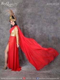 เช่าชุดแฟนซี &#x2665 ชุดแฟนซี โรมัน-กรีก สีทอง-แดงไหล่เดี่ยว ผ่าหน้า พร้อมที่แต่งศรีษะ