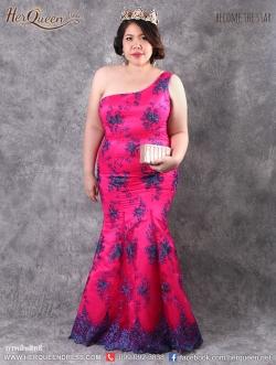 เช่าชุดราตรี &#x2665 ชุดราตรีสวยเปรี้ยว แขนเดี่ยว สีชมพูบานเย็น ลูกไม้น้ำเงิน