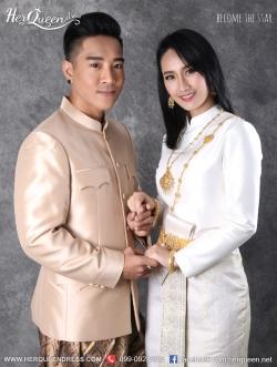 เช่าชุดไทย &#x2665 ชุดแต่งงานแบบไทย ชุดไทยบรมพิมาน - สีงาช้าง และชุดราชปะแตน