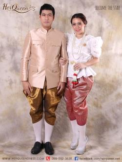 เช่าชุดไทยเพื่อนเจ้าสาว &#x2665 ชุดไทย เสื้อพระราชทาน โจงกระเบน คู่ ชุดไทยเสื้อลูกไม้ ร.7 โจงกระเบน
