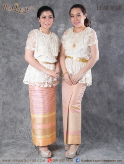 เช่าชุดไทย &#x2665 ชุดไทย ร.7 เสื้อลูกไม้สวยหรู ใส่กับผ้าถุงยาว