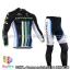 ชุดจักรยานแขนยาวทีม Cannondale 14 สีดำขีดขาวเขียวฟ้า