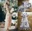 เดรสผ้าชีฟองพิมพ์ลายดอกไม้ทรงปาดข้างตกแต่งระบาย thumbnail 4
