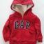 Gap : Jacket มีฮูด ซิปหน้า ด้านในบุขนหนานุ่ม สีแดงเข้ม size : 3T thumbnail 3