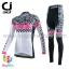 ชุดจักรยานผู้หญิงแขนยาวขายาว CheJi 15 (02) สีขาวลายดำชมพู thumbnail 1