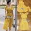 เซ็ตเสื้อคร็อปสั้นและกระโปรงสีเหลืองมัสตาร์ด thumbnail 11