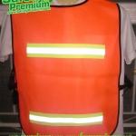 เสื้อจราจรสะท้อนแสงตาข่ายสีส้มติดแถบผ้าสะท้อนแสง