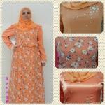 เดรสมุสลิมสีส้มผ้ามอสเครปแต่งด้วยเพชรดอกไม้ ฟรี ฮิญาบดอกไม้เหลือง!!