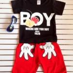 Aime'e : Set เสื้อ+กางเกง BOY สีน้ำตาล-แดง size : 1y / 2y