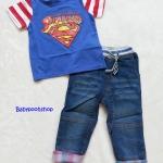Coolelves : Set เสื้อ Superman สีน้ำเงิน พร้อม กางเกงยีนส์ขายาว size : 80 / 110