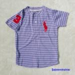 Polo : เสื้อยืดลายขวาง สีม่วง คอติดกระดุม แขนปักเลข 3 size : 2T / 4T / 6T / 8T