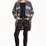 H&M : เสื้อคลุมไหมพรม ผ้าหนา สีเทาดำ Jacquard-knit Cardigan size : 8-10y / 10-12y / 12-14y
