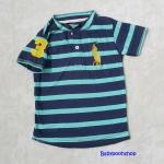 Polo : เสื้อยืดลายขวาง สีน้ำเงิน-ฟ้า คอติดกระดุม แขนปักเลข 3 size : 2T / 4T / 6T / 8T