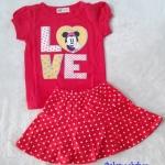 H&M : Set เสื้อ+กระโปรง มินนี่ สีชมพูแดง (กระโปรงมีกางเกงข้างใน) size 1-2y / 2-3y / 4-5y / 5-6y / 6-7y
