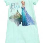 H&M : ชุดนอน สกรีนลายเจ้าหญิง เอลซ่า สีฟ้า size : 4-6y / 12-14y