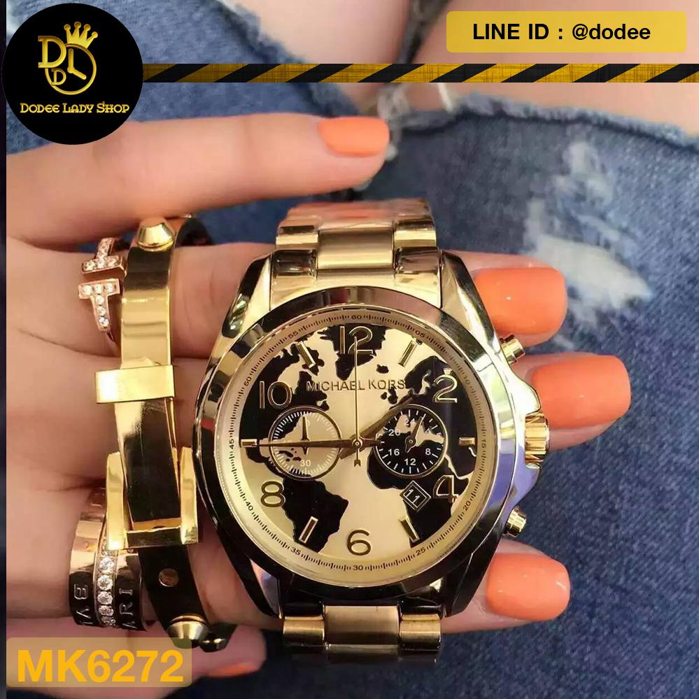 1e2292b84587 นาฬิกาข้อมือ Michael Kors MK6272 Watch Hunger Stop Oversized Bradshaw 100  Gold-Tone Watch - DodeeLadyShop จำหน่ายนาฬิกาข้อมือยี่ห้อ Michael Kors