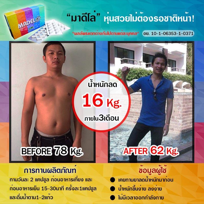 มาดีโล่ Before After คุณรส ลดได้ 16 kg